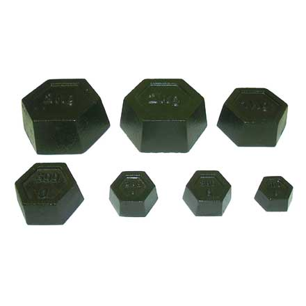 METRIC HEXAGONAL WEIGHT SET Set of 7 accurate hexagonal iron calibration weights